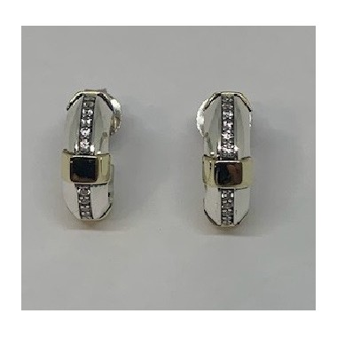 925 Silver and 375 Gold Earrings