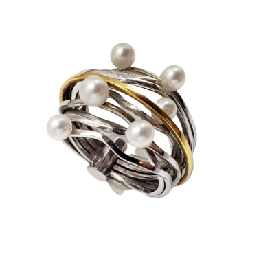 Bicolor Gold Pearl Ring