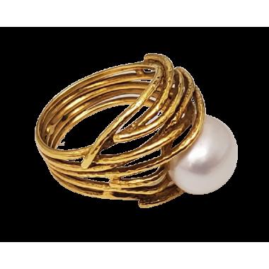 Bague en or avec perles d'eau douce