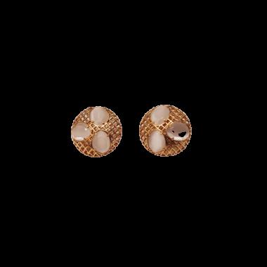 Boucles d'oreilles oeil de chat dorées