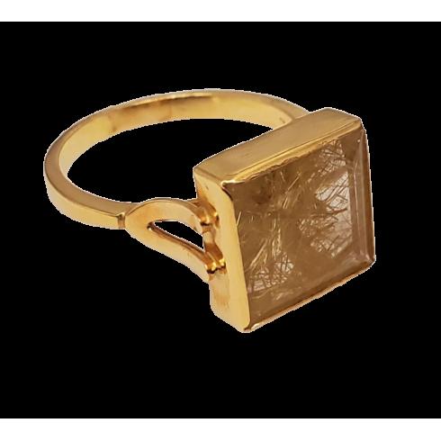 Gold Rutile Quartz Ring