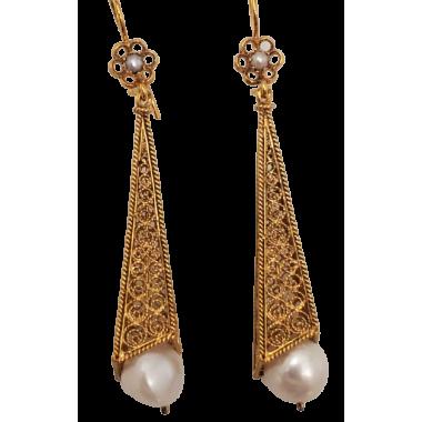 Gold Silver Filigree Earrings