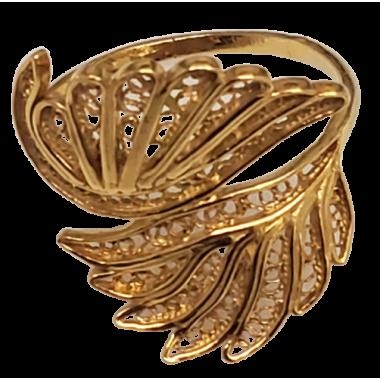 Golden Silver Filigree Ring