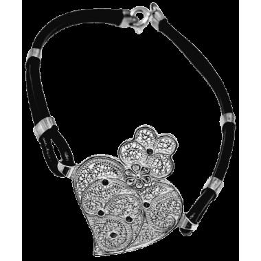 Bracelet en cuir et filigrane argenté
