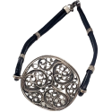 Silver Leather and Filigree Bracelet