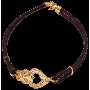 Bracelet en cuir et filigrane en argent doré