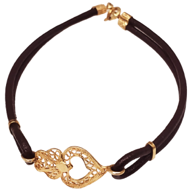 Leather and Filigree Bracelet in Golden Silver