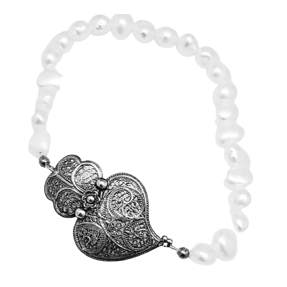 Silver Pearls and Filigree Bracelet