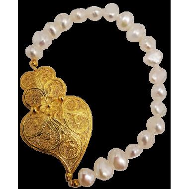 Bracelet perles et filigrane en argent doré