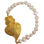 Pearls and Filigree Bracelet in Golden Silver